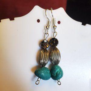 Silver Tone Hook Metal and Howlite Bead Earrings